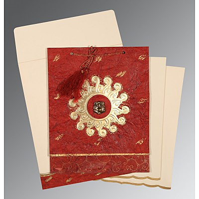 Red Handmade Cotton Embossed Wedding Invitation : CW-1264 - IndianWeddingCards