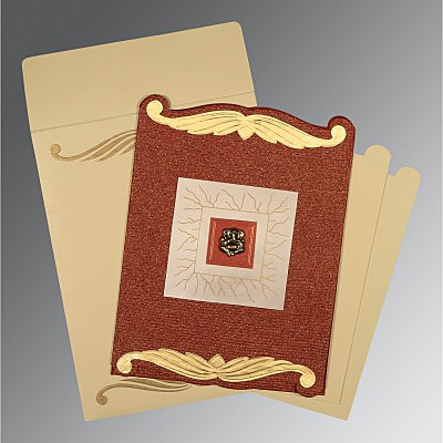 Red Handmade Cotton Embossed Wedding Card : CW-1412 - IndianWeddingCards