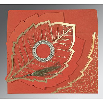 Red Handmade Cotton Floral Themed - Foil Stamped Wedding Card : CD-8219I - IndianWeddingCards