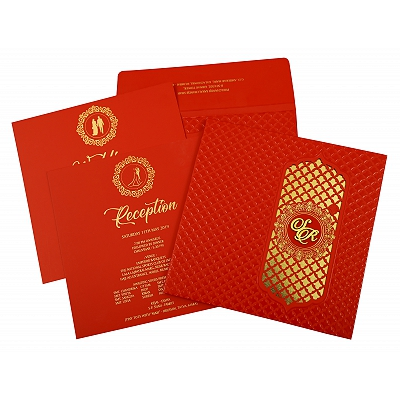 Red Matte Box Themed - Foil Stamped Wedding Invitation : CD-1858 - IndianWeddingCards