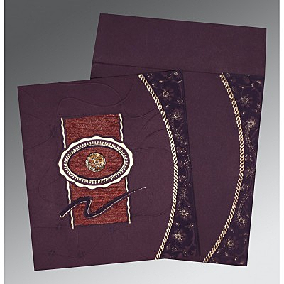 Red Matte Embossed Wedding Invitation : CW-1169 - IndianWeddingCards
