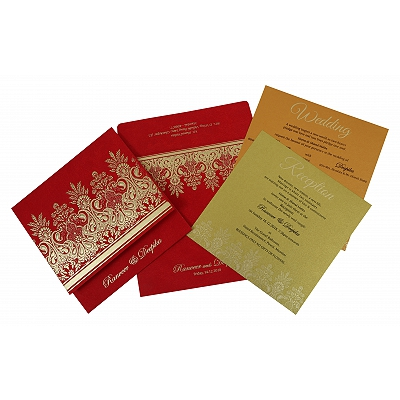 Red Matte Embossed Wedding Invitation : CW-1780 - IndianWeddingCards