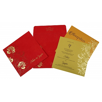 Red Matte Floral Themed - Screen Printed Wedding Invitation : CW-1820 - IndianWeddingCards