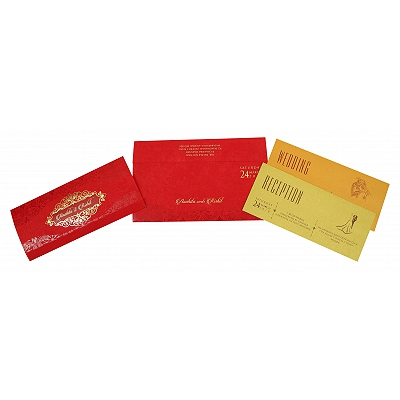 Red Matte Foil Stamped Wedding Invitation : CW-1821 - IndianWeddingCards