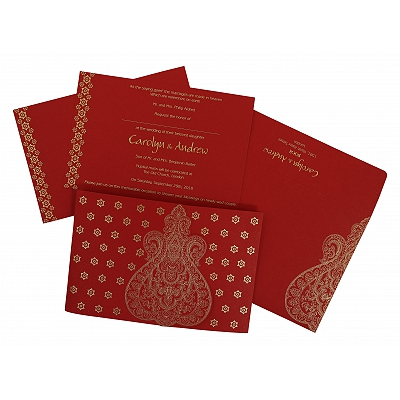Red Paisley Themed - Screen Printed Wedding Invitation : CS-801B - IndianWeddingCards