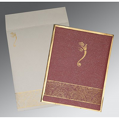 Red Shimmer Wooly Box Themed - Screen Printed Wedding Card : CW-2170 - IndianWeddingCards
