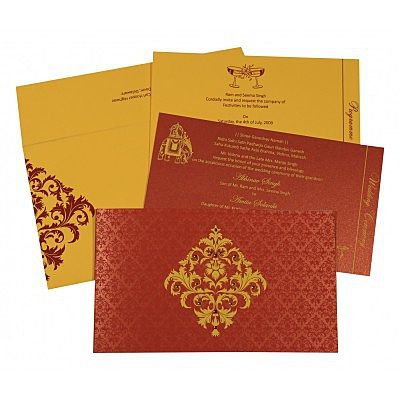 Red Shimmery Damask Themed - Screen Printed Wedding Card : CD-8257D - IndianWeddingCards