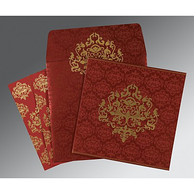 Red Shimmery Damask Themed - Screen Printed Wedding Card : CW-8254B - IndianWeddingCards