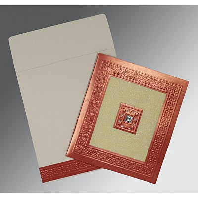 Red Shimmery Embossed Wedding Invitation : CI-1411 - IndianWeddingCards