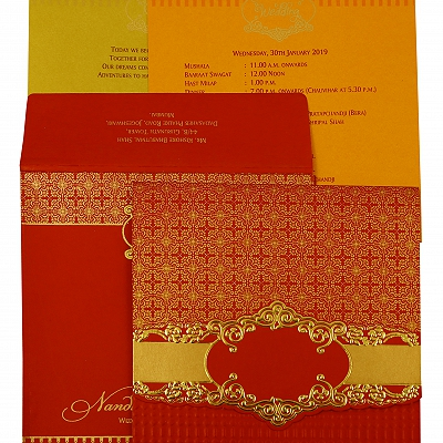 Red Shimmery Floral Themed - Foil Stamped Wedding Invitation : CC-1890 - IndianWeddingCards