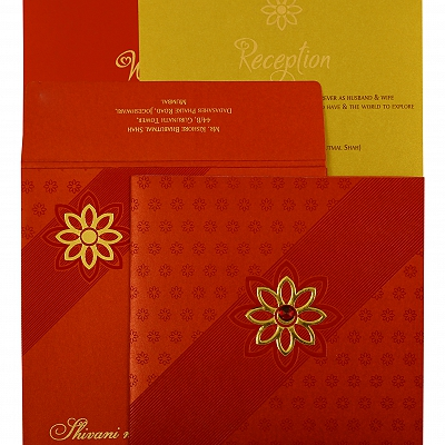 Red Shimmery Floral Themed - Foil Stamped Wedding Invitation : CI-1882 - IndianWeddingCards