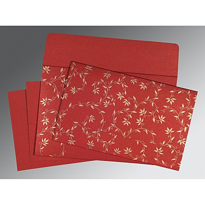 Red Shimmery Floral Themed - Screen Printed Wedding Invitation : CW-8226G - IndianWeddingCards
