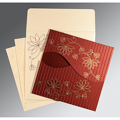 Red Shimmery Floral Themed - Screen Printed Wedding Invitation : CW-8251L - IndianWeddingCards