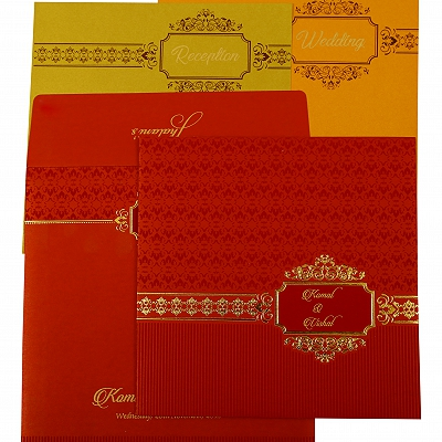 Red Shimmery Foil Stamped Wedding Invitation : CD-1902 - IndianWeddingCards