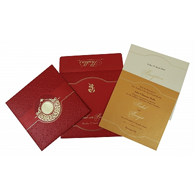 Red Shimmery Foil Stamped Wedding Invitation : CD-1784 - IndianWeddingCards