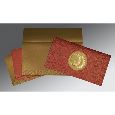 Red Shimmery Foil Stamped Wedding Card : CS-1465 - IndianWeddingCards