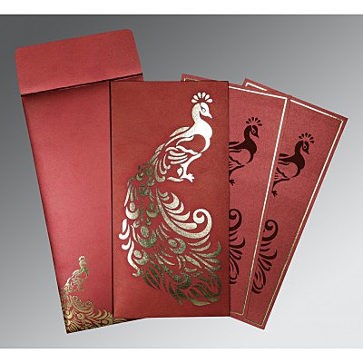 Red Shimmery Peacock Themed - Laser Cut Wedding Invitation : CW-8255A - IndianWeddingCards