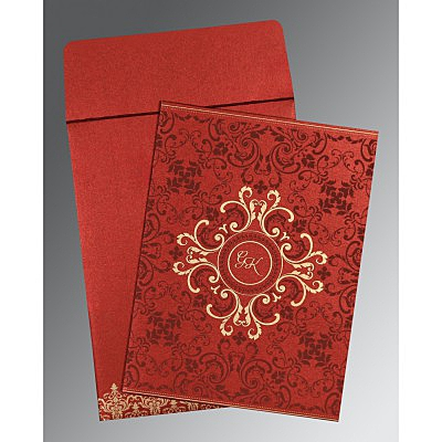 Red Shimmery Screen Printed Wedding Card : CC-8244E - IndianWeddingCards