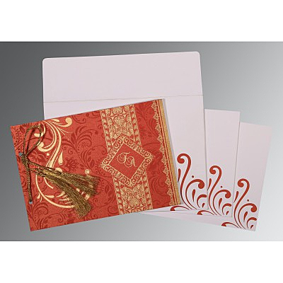 Red Shimmery Screen Printed Wedding Card : CIN-8223F