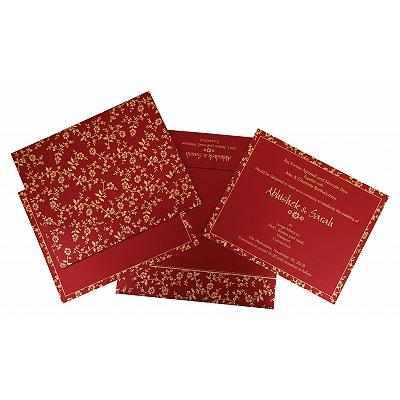 Red Shimmery Screen Printed Wedding Invitation : CRU-804B - IndianWeddingCards