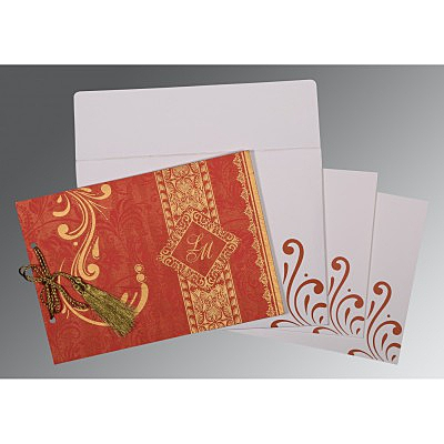 Red Shimmery Screen Printed Wedding Card : CW-8223C - IndianWeddingCards