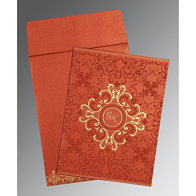 Red Shimmery Screen Printed Wedding Card : CW-8244L - IndianWeddingCards