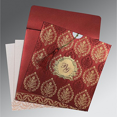 Red Shimmery Unique Themed - Foil Stamped Wedding Card : CC-8249L - IndianWeddingCards