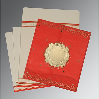 Red Wooly Embossed Wedding Invitation : CD-8202H - IndianWeddingCards