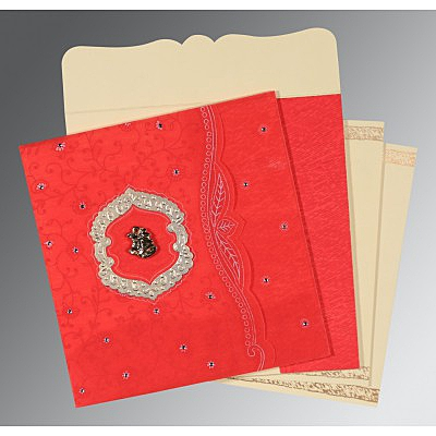 Red Wooly Floral Themed - Embossed Wedding Card : CC-8209I - IndianWeddingCards