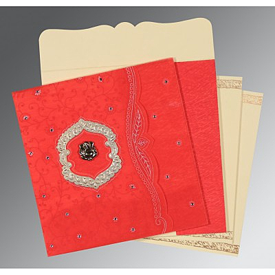 Red Wooly Floral Themed - Embossed Wedding Invitations : CW-8209I - IndianWeddingCards