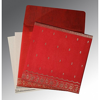 Red Wooly Foil Stamped Wedding Card : CD-8242A - IndianWeddingCards