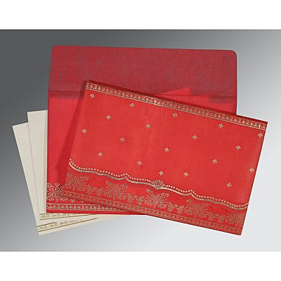 Red Wooly Foil Stamped Wedding Invitation : CS-8241Q - IndianWeddingCards