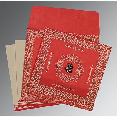 Red Wooly Glitter Wedding Card : CC-8205R - IndianWeddingCards