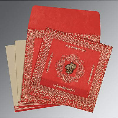Red Wooly Glitter Wedding Card : CI-8205R - IndianWeddingCards