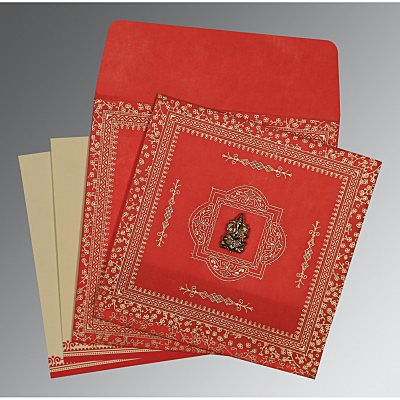 Red Wooly Glitter Wedding Card : CIN-8205R - IndianWeddingCards
