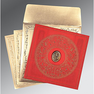 Red Wooly Screen Printed Wedding Card : CI-8214G - IndianWeddingCards
