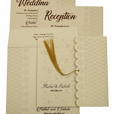 Shell Grey Shimmery Floral Themed - Embossed Wedding Invitation : CC-1887 - IndianWeddingCards