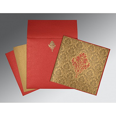 Shimmery Damask Themed - Laser Cut Wedding Invitation : CW-1494 - IndianWeddingCards