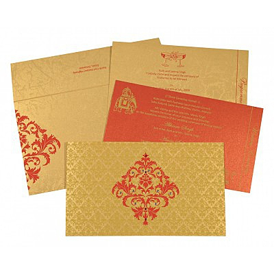 Shimmery Damask Themed - Screen Printed Wedding Card : CW-8257C - IndianWeddingCards