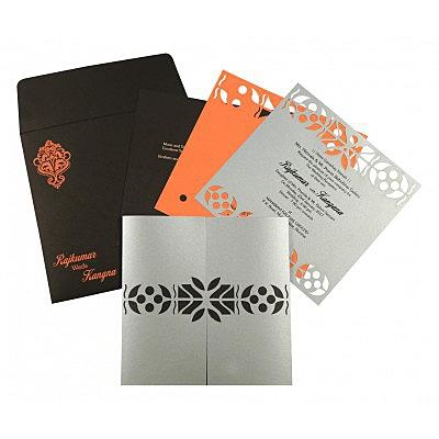 Shimmery Embossed Wedding Invitation : CSO-8260E - IndianWeddingCards