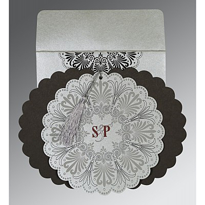 Shimmery Floral Themed - Embossed Wedding Invitations : CW-8238A - IndianWeddingCards