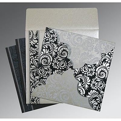 Shimmery Floral Themed - Screen Printed Wedding Card : CG-8235B - IndianWeddingCards
