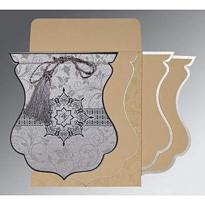 Shimmery Floral Themed - Screen Printed Wedding Card : CI-8229B