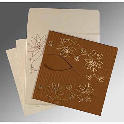 Shimmery Floral Themed - Screen Printed Wedding Invitation : CRU-8251M - IndianWeddingCards