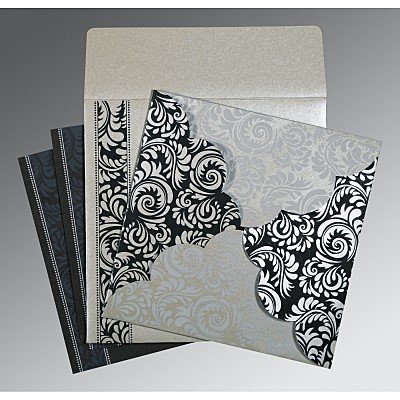 Shimmery Floral Themed - Screen Printed Wedding Card : CW-8235B - IndianWeddingCards