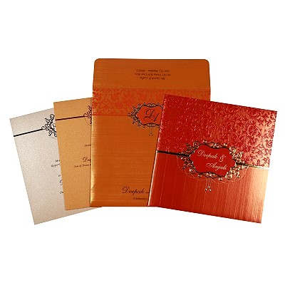 Shimmery Foil Stamped Wedding Invitation : CRU-1764