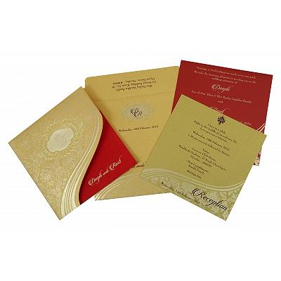 Shimmery Foil Stamped Wedding Invitation : CSO-1798 - IndianWeddingCards