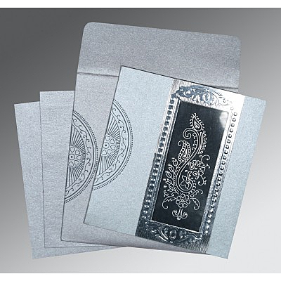 Shimmery Paisley Themed - Foil Stamped Wedding Invitation : CC-8230F - IndianWeddingCards