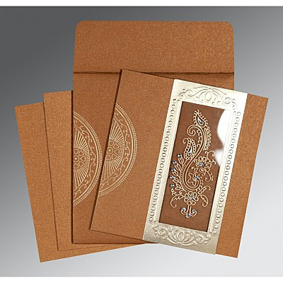 Shimmery Paisley Themed - Foil Stamped Wedding Invitation : CW-8230Q - IndianWeddingCards