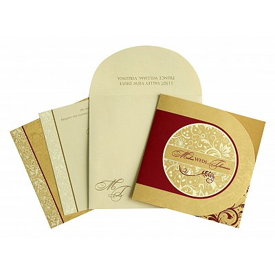 Shimmery Paisley Themed - Screen Printed Wedding Card : CD-8264B - IndianWeddingCards
